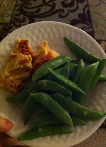 hummus and snap peas